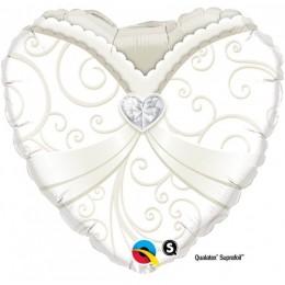 Palloncino per matrimonio a forma di cuore decorato con stampa corpetto abito da Sposa